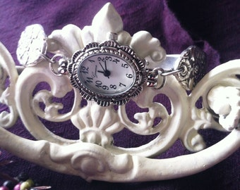 Vintage Sterling Silver Plate Spoon Watch, Pattern, Plantation, circa 1948, Repurposed, Upcycled, Silverplate Spoon and Fork Jewelry