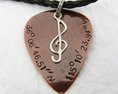 Guitar pick pendant with sterling silver Treble Clef and personal message, copper guitar pick necklace. GPS location