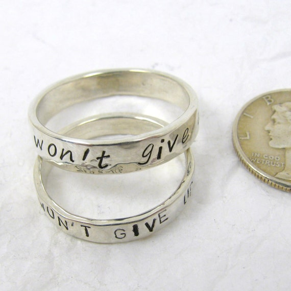 Fine Silver Promise Rings set of 2 3 mm or 4 mm Couples