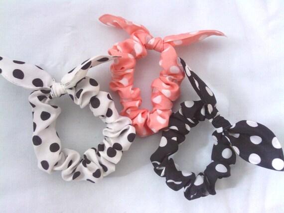 SALE:  3pc rabbit, bunny ears hair ties/ ponnytail ties