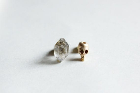 tiny gold skull  earring -raw Herkimer Diamond earring- skull jewelry -rough raw quartz crystal earrings -rough quartz  earrings