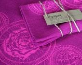 Linen Tea Towel - Artichoke Tea Towels - Handmade - Dishcloth - Purple Kitchen Towel - Cujicoo Tea Towel - Gift for food lovers - 26 x 18