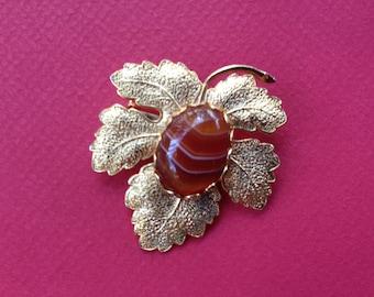 Vintage Maple Leaf Brooch Set With Agate