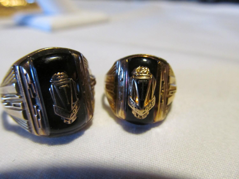mathing black onyx gold class rings 1947 by