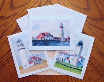 Lighthouse Note Cards - Blank - Set of 3