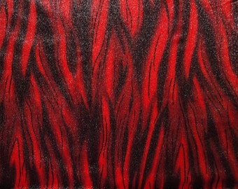 Red Stretch Velvet with Black Streaks and Silver Glitter