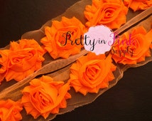 ORANGE Shabby Rose Trim - Shabby Chiffon Rosettes - 1/2 Yard or 1 Yard - Shabby Flower Trim - Wholesale Shabby Flower - Chiffon Flower