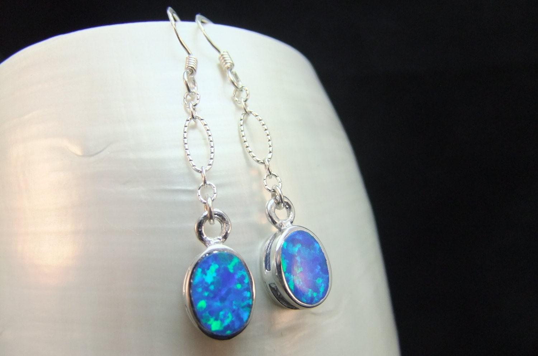 drop earrings blue fire opal sterling silver by. Black Bedroom Furniture Sets. Home Design Ideas