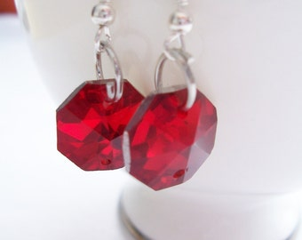 CLEARANCE - Red glass octogon earrings - glass earrings - Valentines earrings - glass jewelry - red earrings - red jewelry
