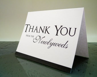 Newlywed Thank you cards from the NEW Mr. & Mrs. - Customize - Wedding Colors - qty 16
