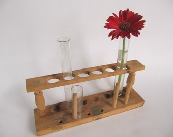 Vintage Science Test Tube Holder with three Test Tubes, Flower bud holder