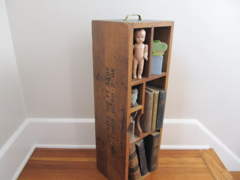 Wood Storage Box Book Shelf Military Box Wwii Ammunition
