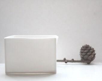 Big pure white cube made from English fine bone china - geometric decor