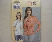 Vogue sewing pattern 7903 for misses' size D,E,F blouse in 2 different styles.