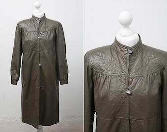 Green Vintage Leather Coat / 1980's Vintage Long Leather Green Women Coat / Size Medium / Grunge Leather Jacket / Forest Green Coat