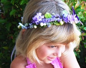 "Purple Floral Hair Wreath- Purple Angel Halo-Wedding Hair Accessory-Woodland Fairy Crown-""Emma"""
