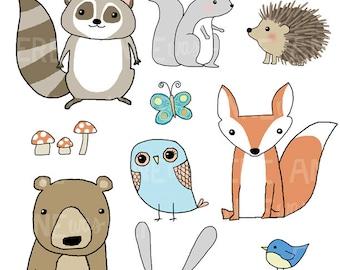 Woodland Clip Art - Forest Animals Clip Art - Woodland Critters Clip Art - Woodland Creatures Clip Art - Woodland Digital Clip Art