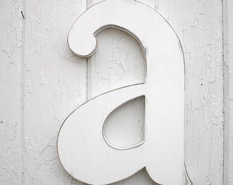 "Wooden Letters 12"" a, lowercase Distressed White Wood Initial Wall Decor Shabby chic Big Nursery Wall Letter Baby Decor"