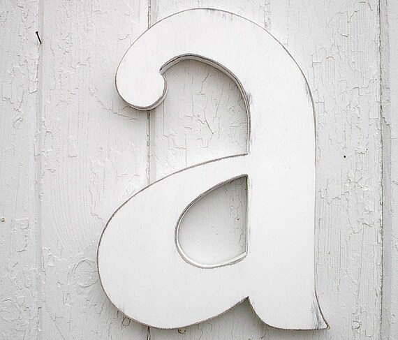wooden letters 12 a lowercase distressed white wood initial wall decor shabby chic big