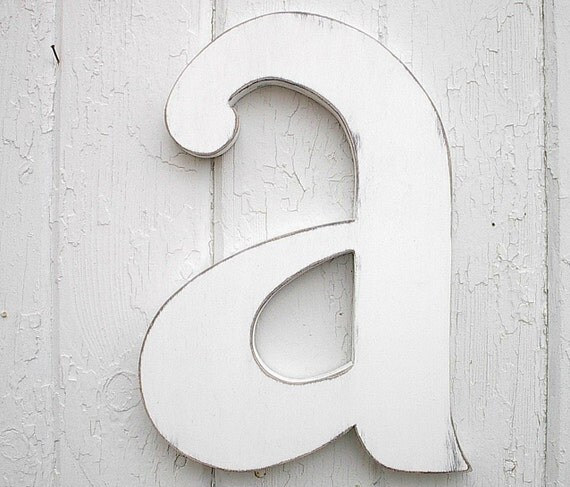 Lowercase Letters Wall Decor : Wooden letters a lowercase distressed white wood