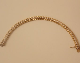 Vintage Gold Tone Rhinestone Bracelet