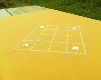Vintage Danish Hand Embroidered Yellow Linen Table Cloth / Scandinavian Decor / Nordic Style / European / Retro Home /  Embroidery / Stitch