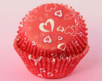 Red and White Cupcake Liners Hearts, 2'' Standard Size , Baking Cups,Valentine's Day