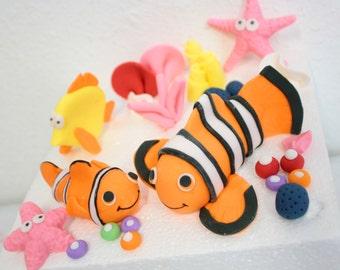 Fondant Finding Nemo Cake Kit for a beach cake, fish cake, beach party, under the sea cake, little mermaid cake