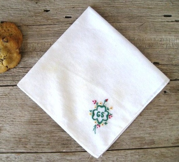 Vintage Girl Scout Handkerchief, Vintage Hanky, Girl Scout Trefoil Embroidered Hankie
