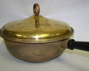 Brass Pan with Lid Vintage Brass Pan Brass Pot Brass Cookware