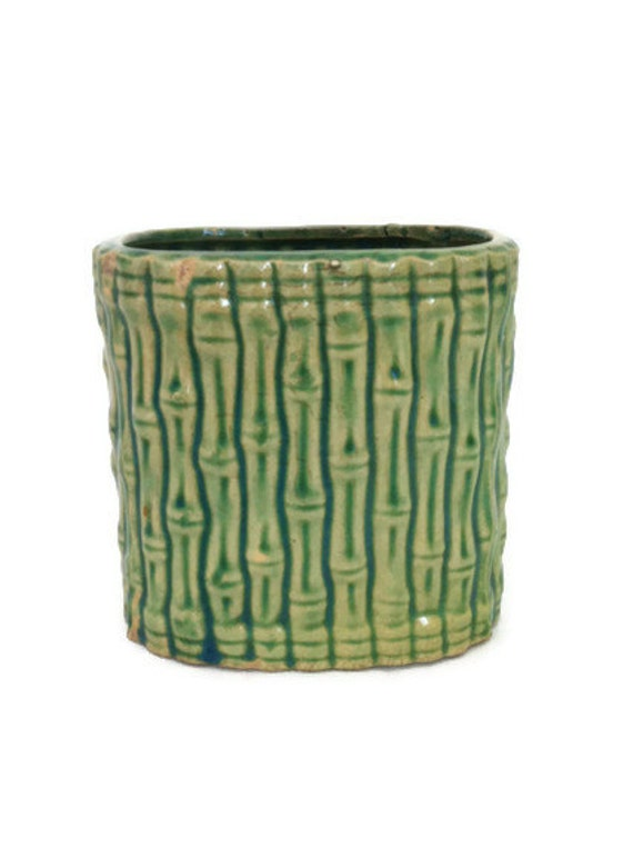 Lime Green Pottery Planter Faux Bamboo Glazed Ceramic Vase