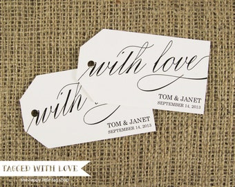 With Love Tag - Wedding Favor Tag - Shower - Wedding Favors - Baptism Tags - Custom Tag  - Bridal Shower Tags - Thank You Tags - SMALL