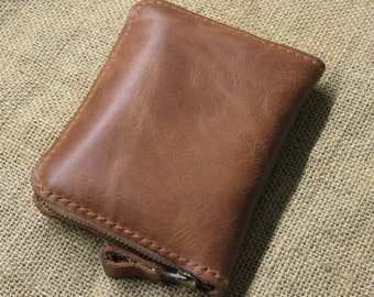 Genuine Leather wallet with lagre zipper-Men wallet-Money clip-Brown Leather purce
