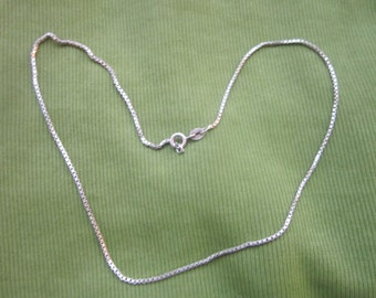 Vintage Italy 925 Sterling Silver Box Chain Necklace