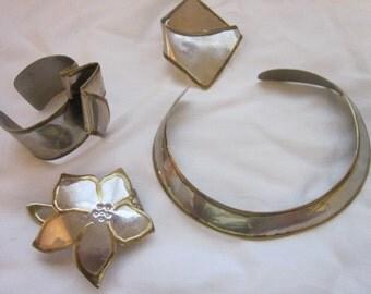 Vintage Modern Artist Made Ensemble Necklace Cuff Bracelet Brooch Clip Set
