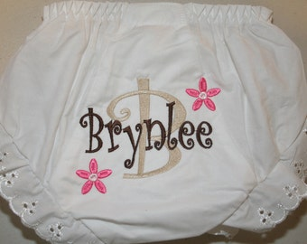Personalized Monogrammed Diaper Cover Bloomer Initial Flowers