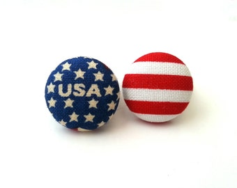Americana Usa american flag small fabric button earrings
