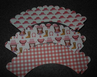 Cowgirl Celebration Cupcake Wrapper   Set of 12 Pink