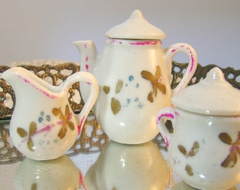 Vintage Tea Set. Teapot, cups, saucers. Antique Doll China Dishes. Dainty, Adorable. 21-Piece Lot.