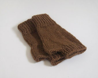 knit fingerless mittens-- the condyle wristwarmers in cocoa brown