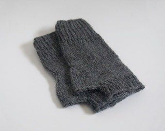 custom knit fingerless mittens-- the condyle wristwarmers in oxford grey