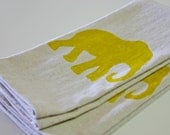 Handmade Linen Tea Towels: Mustard Yellow Elephants More Color Options Available