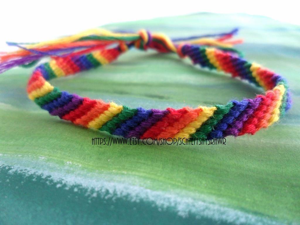 Rainbow Friendship Bracelet thin by Schteffsaysrawr on Etsy