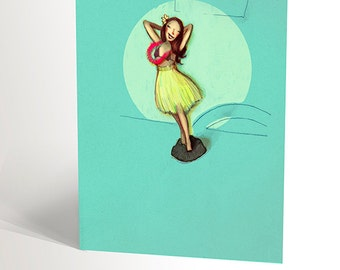 Illustrated card with a hula girl for summer vacations | aloha hawaï turquoise | funny card | summer island flowers | 4,25'' X 5,5''