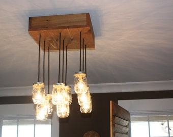 Square cedar mason jar chandelier
