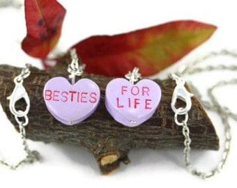 Besties For Life Friendship Necklaces, Best Friend BFF Sweet Hearts Love  Valentines Nostalgic Conversation Candy