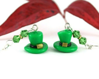 St Patrick's Leprechaun Hat Earrings, Saint Paddys Day Pattys Good Luck of the Irish Green Elf Lucky Charm Whimsical Ireland Whimsy Folklore