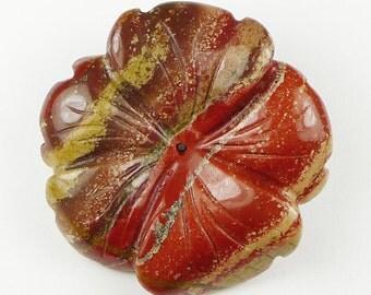 3D Hand Crafted Jasper Flower Pendant Bead - 39x38x8mm