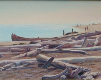 Beach landscape, original oil on canvas, ocean, beach, seascape, driftwood, sand