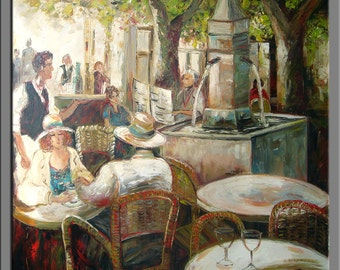 Hand oil painting,impasto oil on canvas ,framed,ready to hang,huge 30''x32'' original palette knife painting people in the restaurant